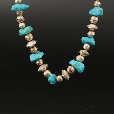 Western Style Sterling Turquoise and Beaded Necklace