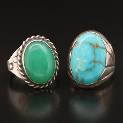Bell Trading Post Signed Western Sterling Turquoise and Chalcedony Rings
