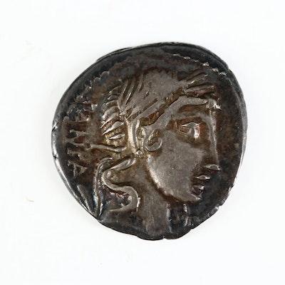 Ancient Roman Republic AR Denarius of C. Vibius C.f. Pansa, ca. 90 B.C.
