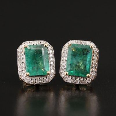 14K Emerald and Diamond Halo Stud Earrings