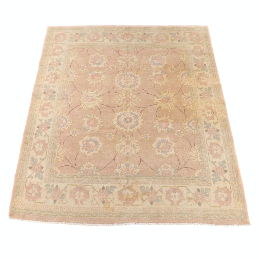 8'3 x 10'5 Hand-Knotted Persian Floral Wool Rug