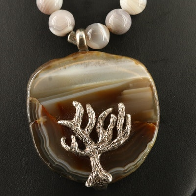 Signed 850 Silver and Sterling Agate Necklace