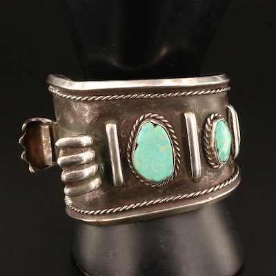 Southwestern Sterling Silver Turquoise Asymmetrical Watch Cuff