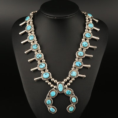 Western 800 Silver and Sterling Turquoise Squash Blossom Necklace