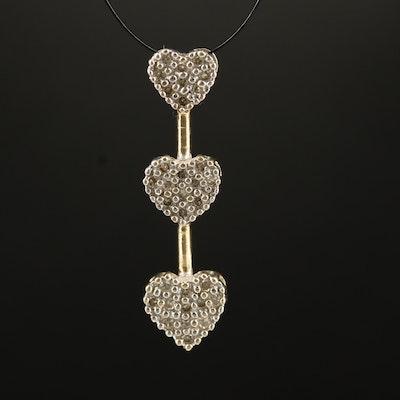 10K Diamond Triple Heart Pendant