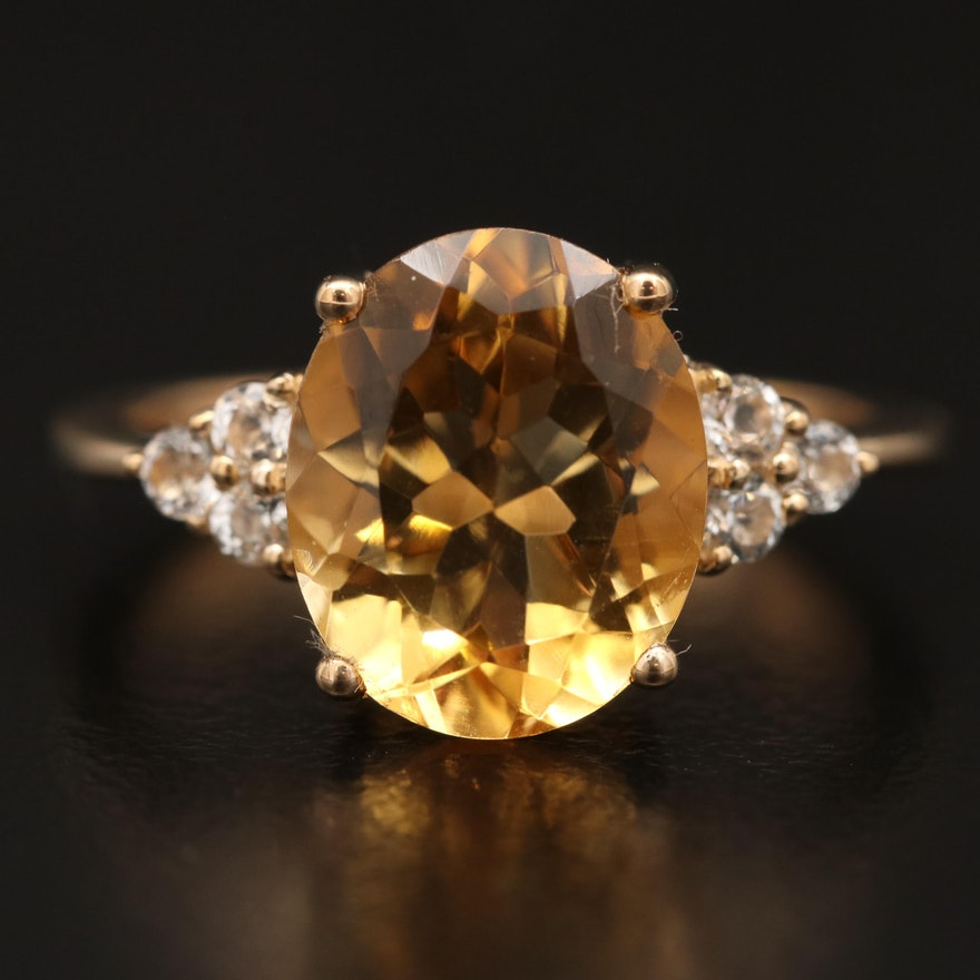 10K Citrine and White Topaz Ring