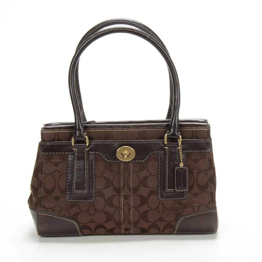 Coach Hampton Signature Canvas and Leather Carryall Handbag