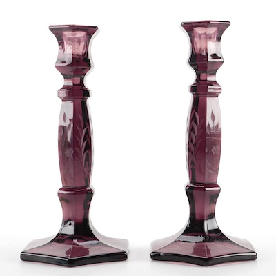 Pair of Etched Amethyst Glass Candlesticks, Mid to Late 20th Century