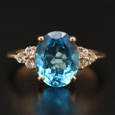 10K Topaz Ring with White Topaz Accents