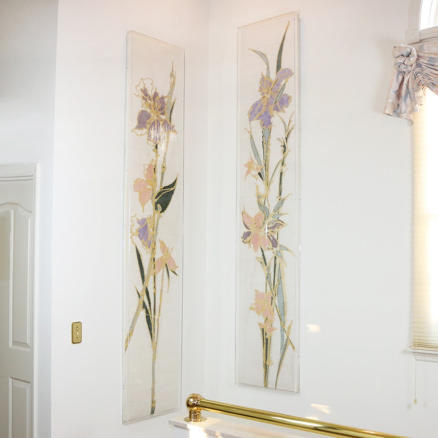Pair of Hand-Painted Floral Wall Art