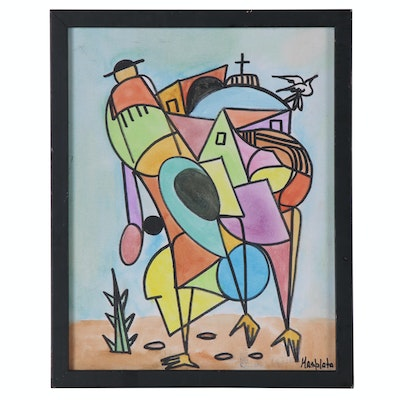"""Masplata Watercolor Painting """"The Mover,"""" 2009"""