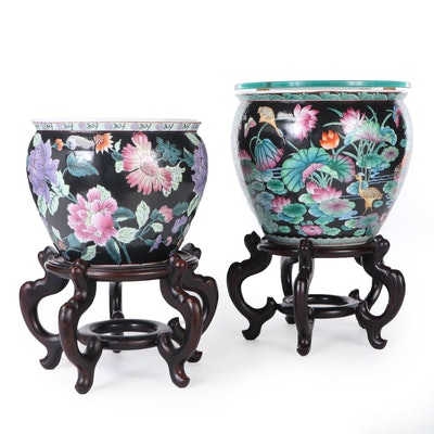 East Asian Enameled Porcelain Fishbowl Planters with Wood Stands, Late 20th C.