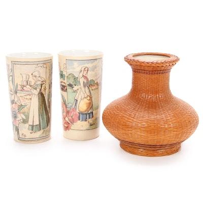 Mettlach Villeroy & Boch and Bamboo Weave Encased Porcelain Vase