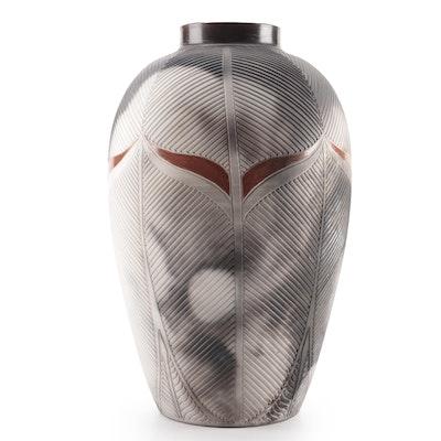 Artisan Signed Smoke Fired Ceramic Vase, Contemporary