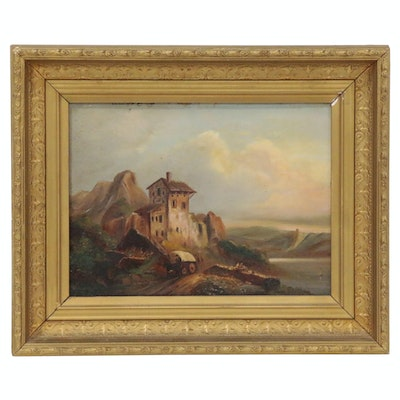 Oil Painting of Seaside Building, Early 20th Century