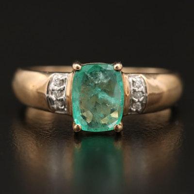 9K Emerald and Diamond Ring