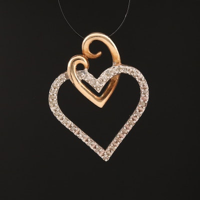 10K Diamond Double Heart Pendant