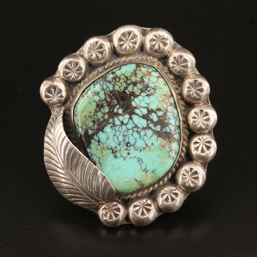Artisan Signed Southwestern Style Sterling Silver Turquoise Ring