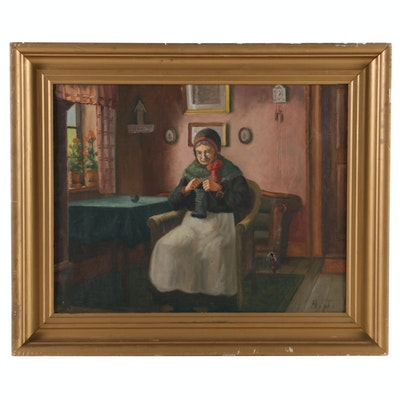 Oil Painting of Elderly Woman Knitting, Early 20th Century
