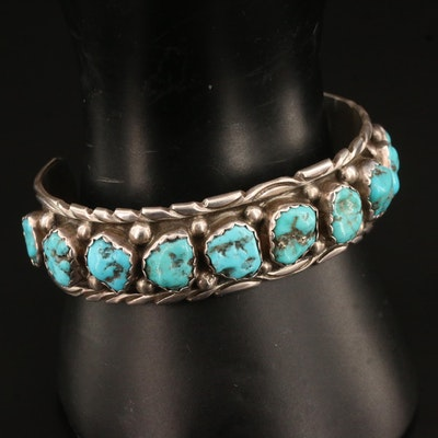 Mary and Richard T. Thomas Navajo Diné Sterling Silver Turquoise Cuff