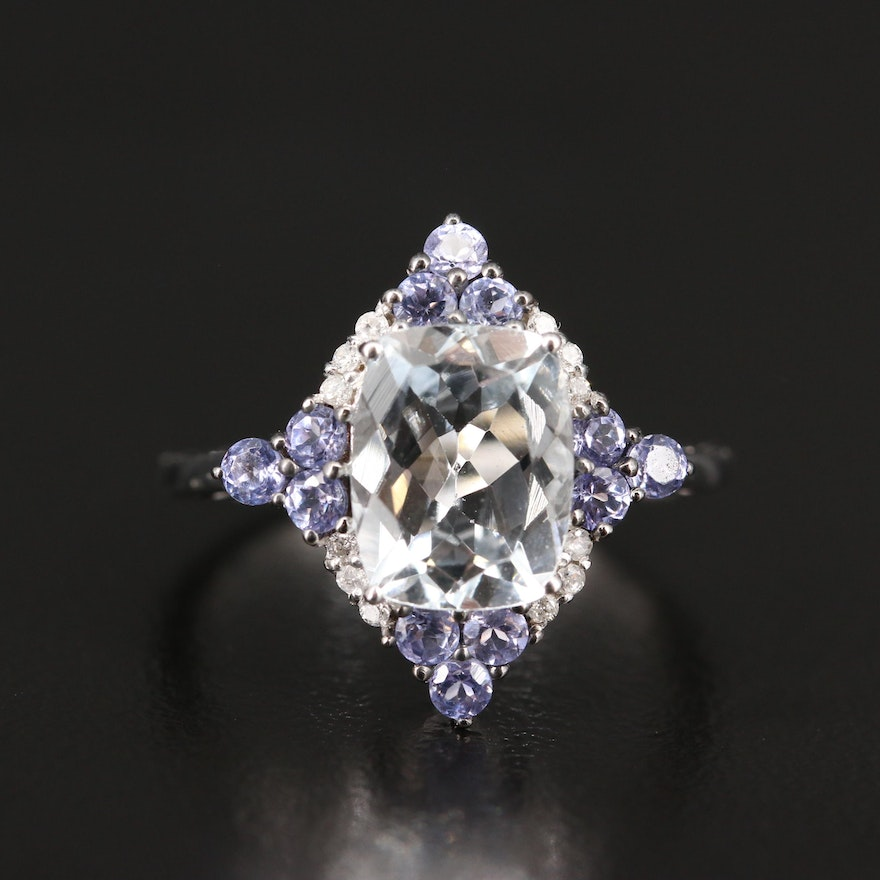 10K Aquamarine, Tanzanite and Diamond Ring