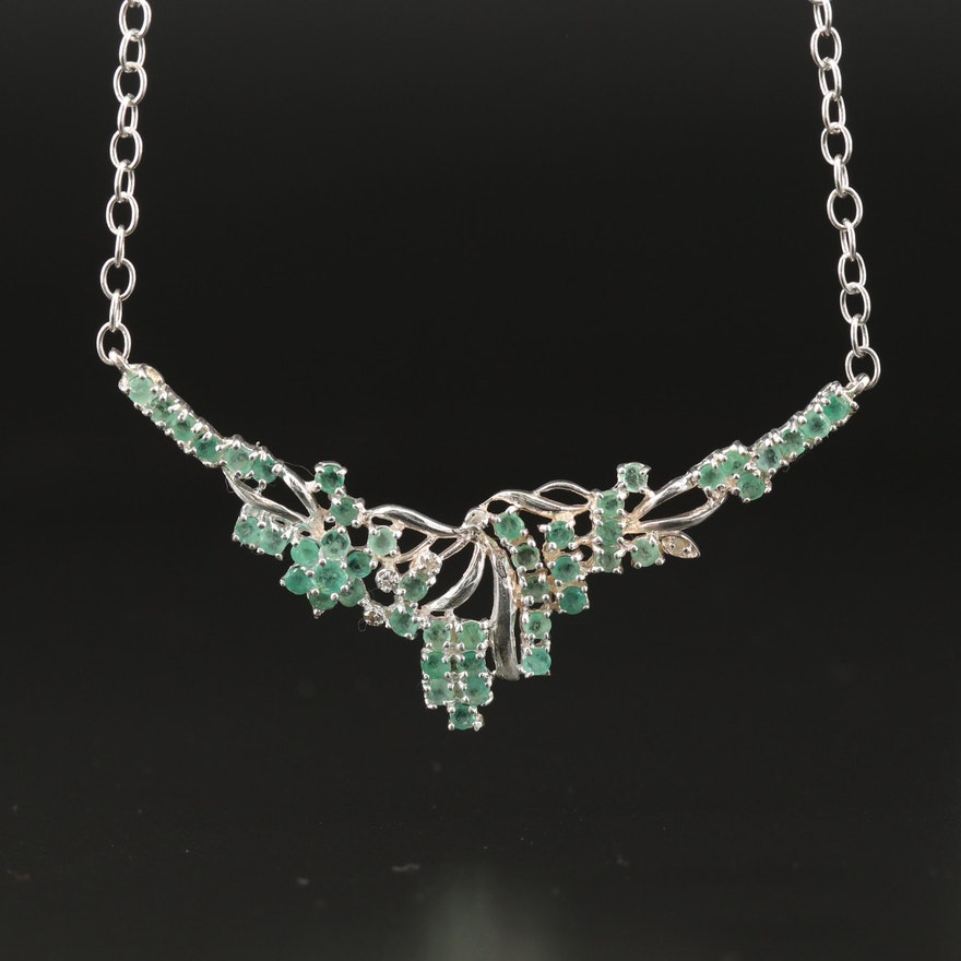 Sterling Silver Emerald Necklace with Floral Motif