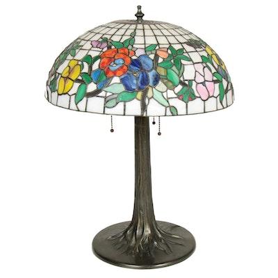 Art Nouveau Style Slag Glass Pansy Motif Table Lamp