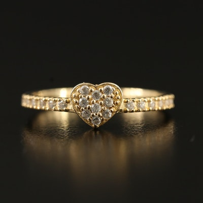 10K Cubic Zirconia Heart Ring