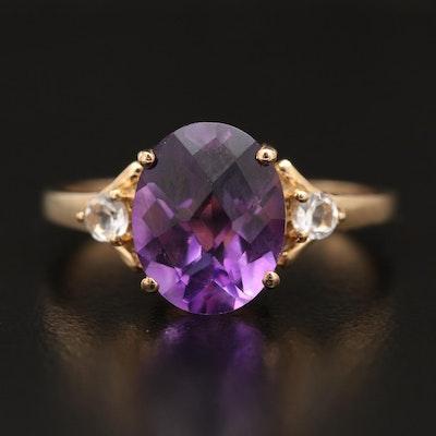 10K Amethyst and Topaz Three Stone Ring