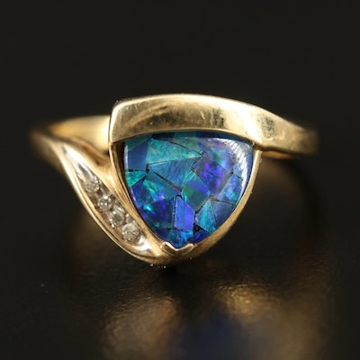 14K Opal Mosaic Triplet and Diamond Triangular Bypass Ring