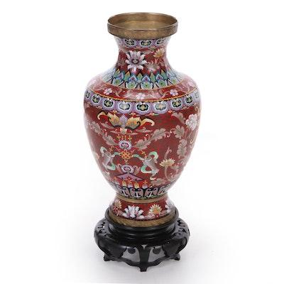 Chinese Enameled Vase with Wood Base, Late 20th Century