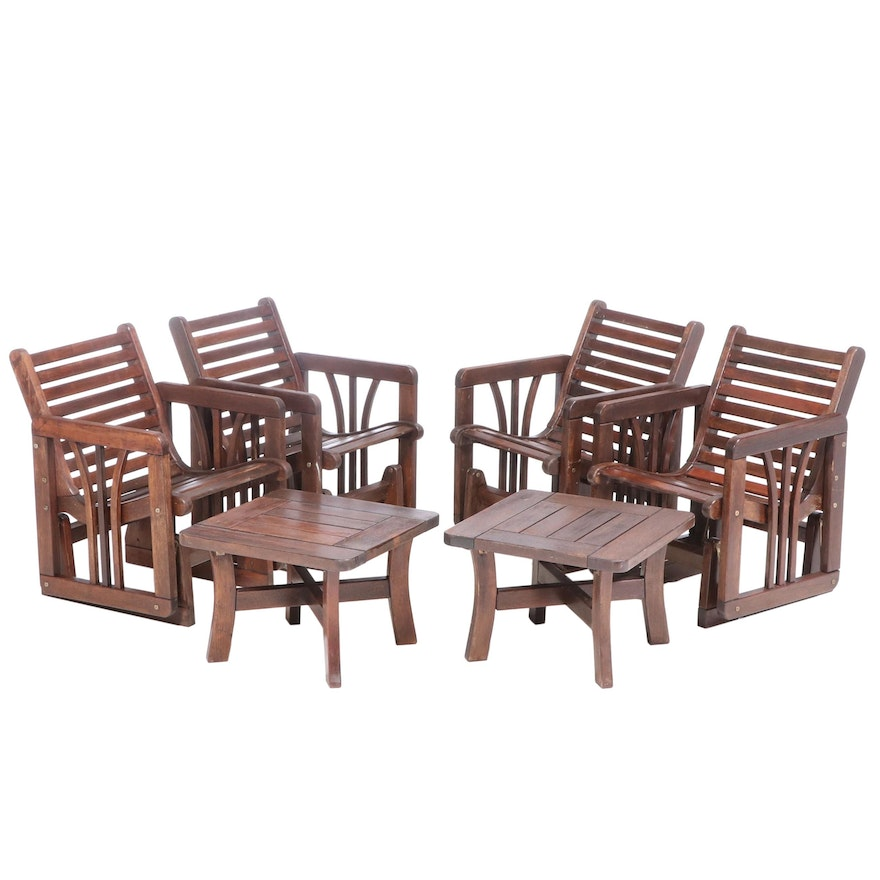 Wooden Slat Patio Glider Seating Group