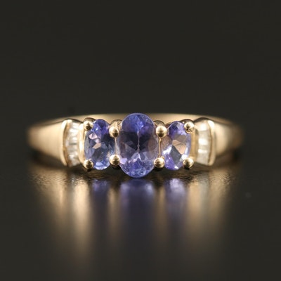 10K Tanzanite and Diamond Cathedral Ring