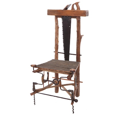 Hand Crafted Chair Made of Workshop Tools and Wood Sections