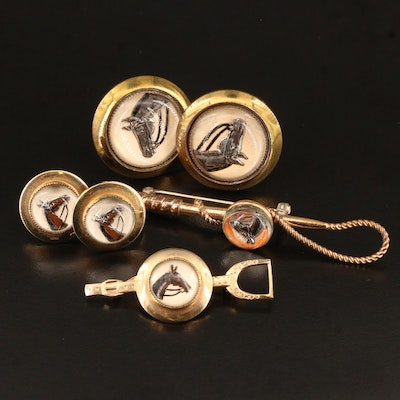 Vintage Reverse Painted Equestrian Jewelry