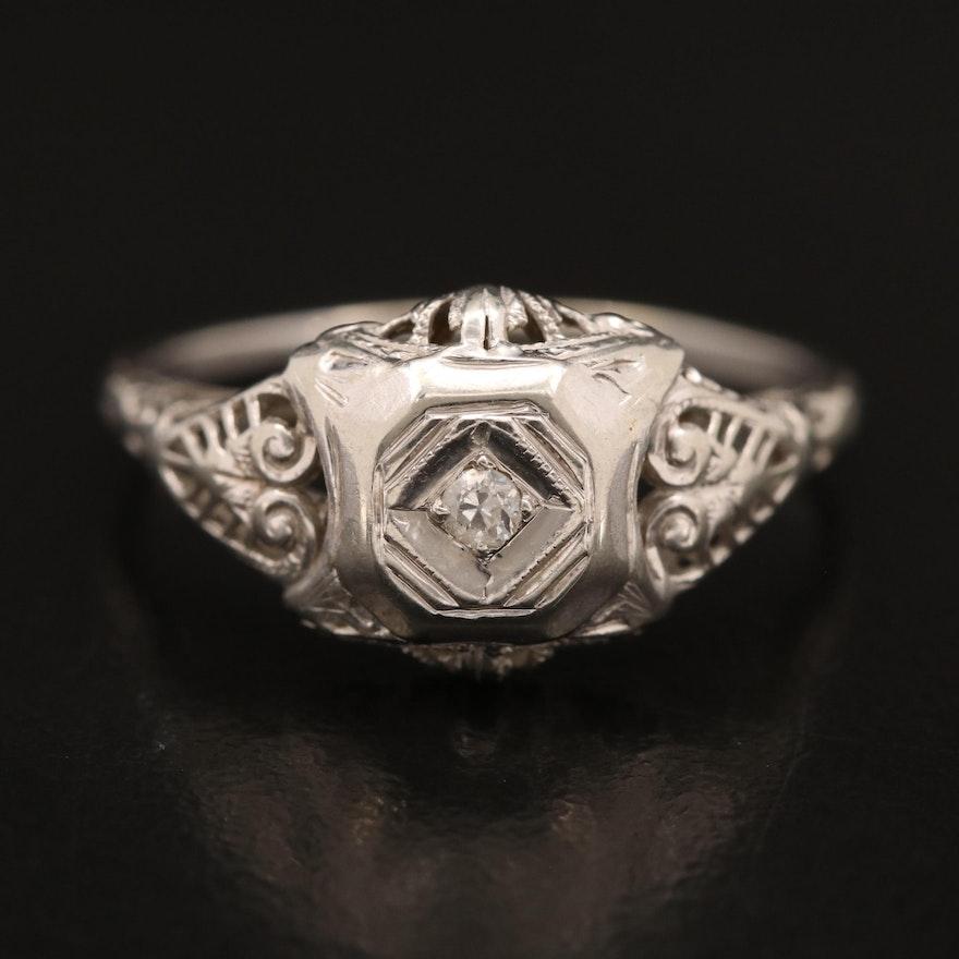 Edwardian 18K 0.04 CT Diamond Solitaire Ring