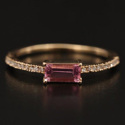14K Tourmaline and Diamond East-West Ring