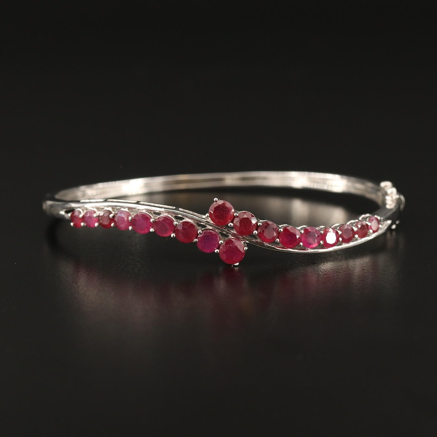 Sterling Silver Ruby Hinged Bangle