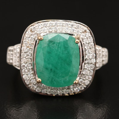 14K 3.29 CT Emerald and Diamond Ring