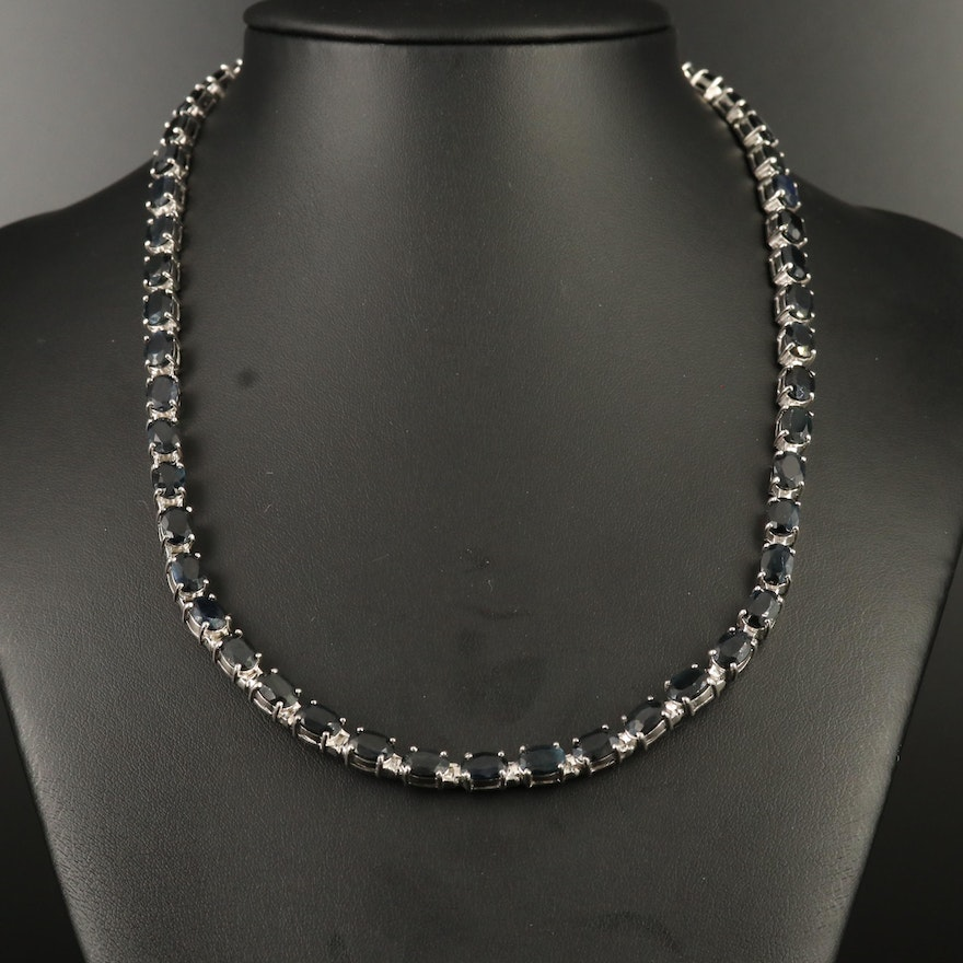 Sterling Silver Sapphire Collar