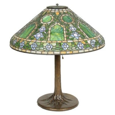 Arts and Crafts Style Morning Glory Slag Glass Table Lamp