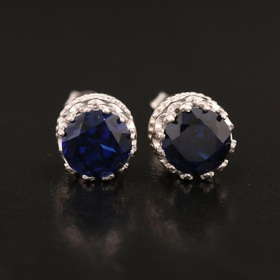 10K Fancy Set Sapphire Stud Earrings