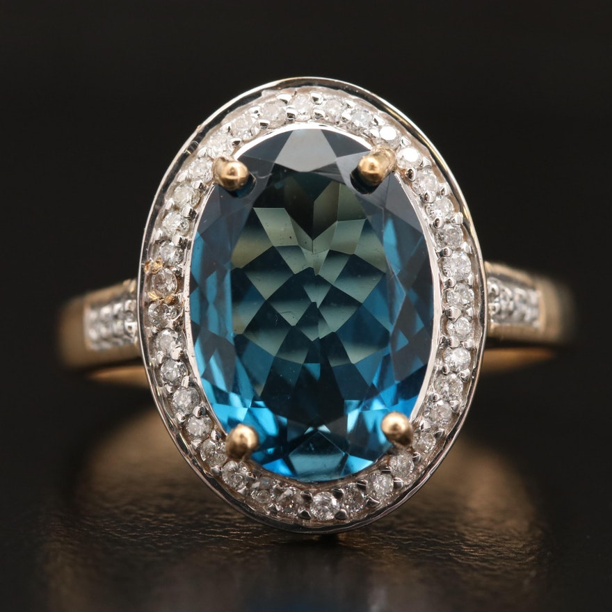 14K London Blue Topaz and Diamond Ring