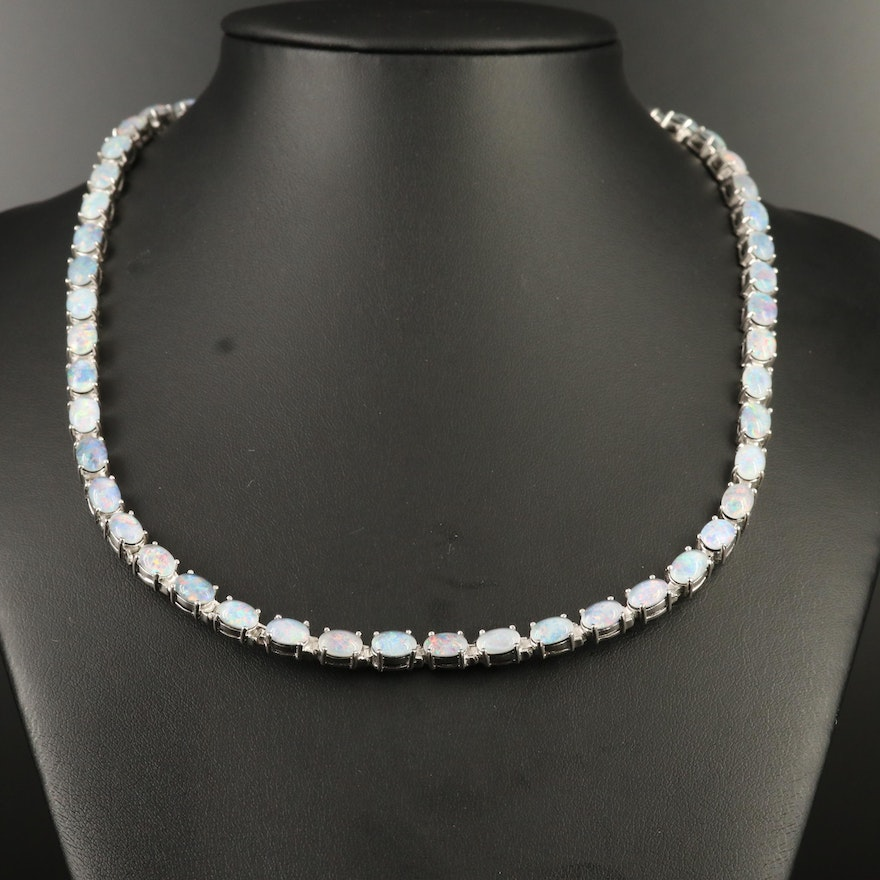 Sterling Silver Opal Triplet Collar Necklace