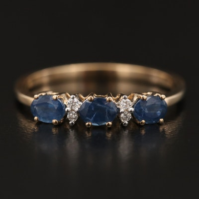 10K Sapphire and Diamond East-West Ring