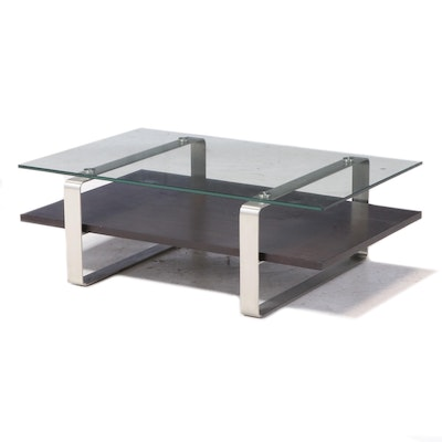 Contemporary Modern Glass Top Wood and Chrome Coffee Table