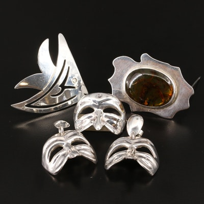 Sterling Brooches and Earrings Featuring Masquerade Mask Jewelry Set