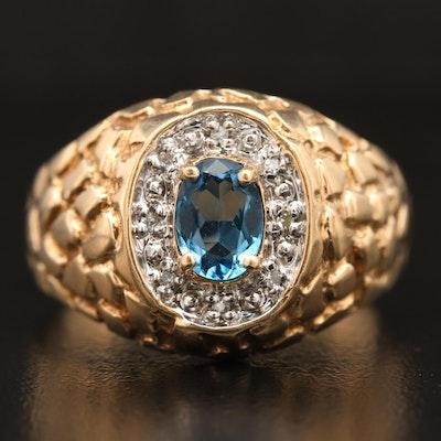 10K Topaz and Diamond Textured Ring