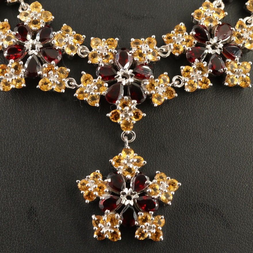 Sterling Silver Garnet and Citrine Floral Necklace