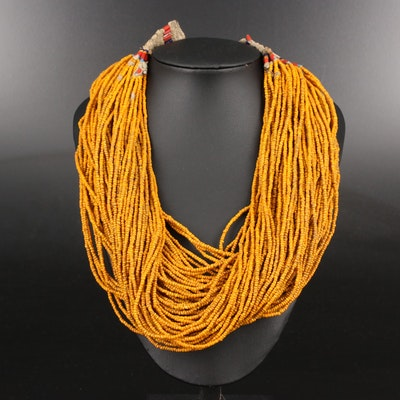 Tribal Style Ceramic Multi-Strand Beaded Necklace
